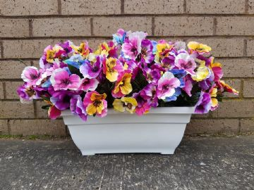 40CM SPRING  Artificial  Multicoloured Pansies white trough